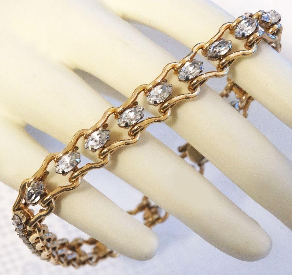 Vintage Krementz Tennis Bracelet 23k Gp Gold Plated Paste Rhinestone
