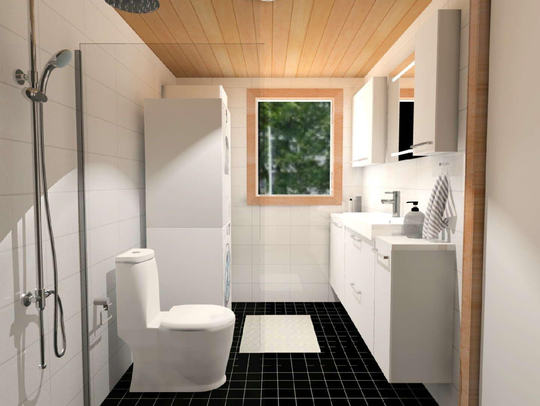 Sisustus - kylpyhuone - wc - musta lattia kontrastina vaaleassa tilassa