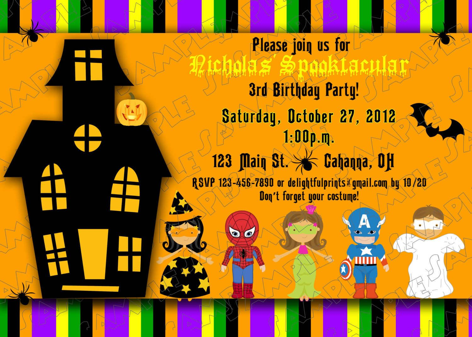 Halloween Kids Birthday Party Invitations