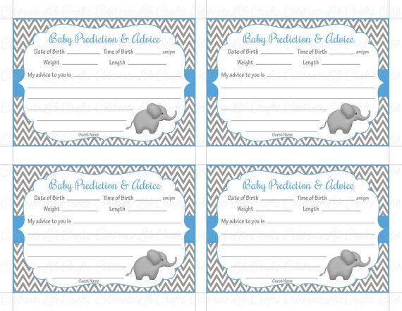 Baby Shower Prediction And Advice Cards Mommy