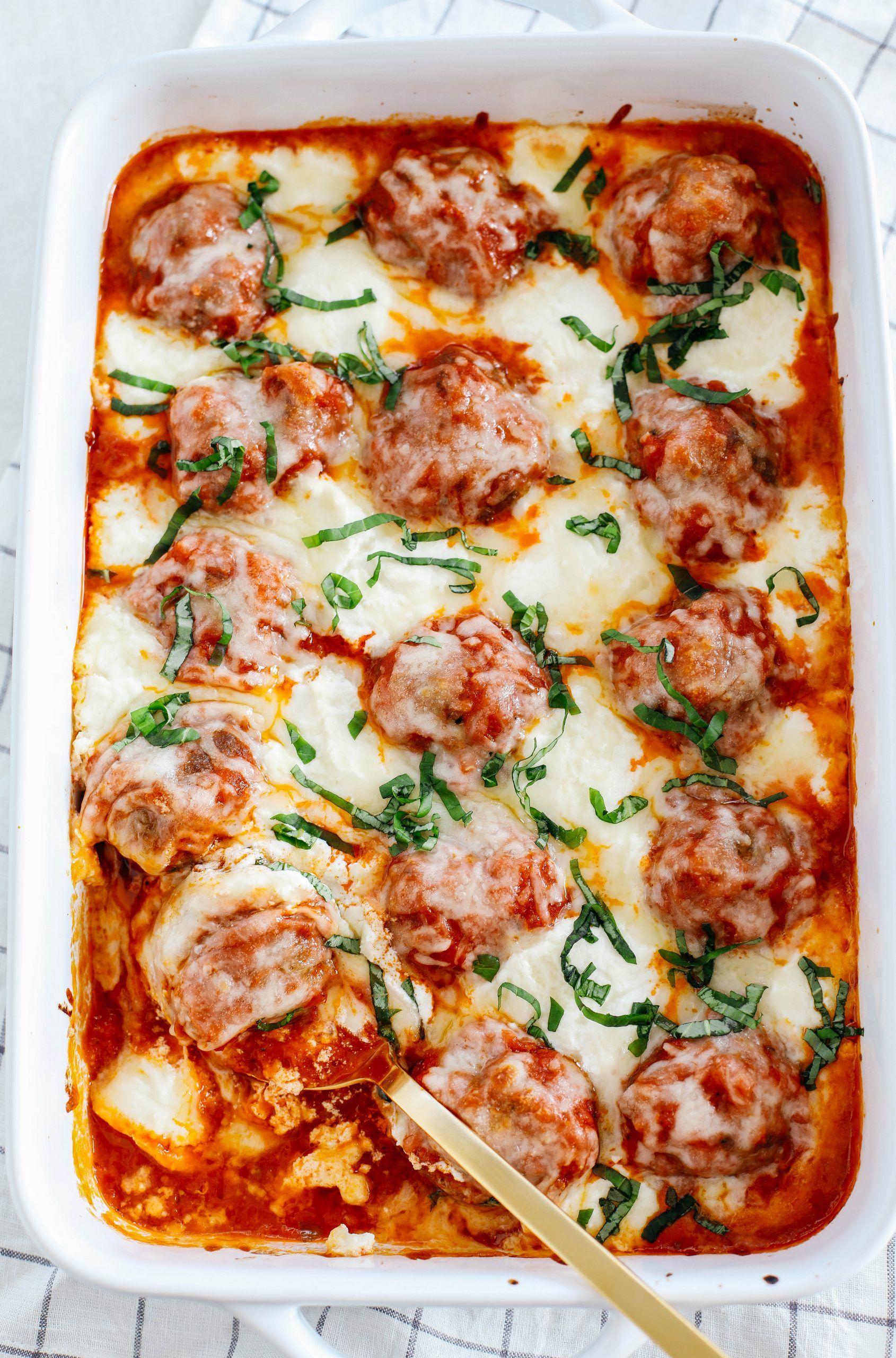 Photo of Cheesy Keto Meatball Casserole – Eat Yourself Skinny