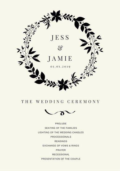 Simple Black Wedding Program Invite Pinterest Programs And Weddings