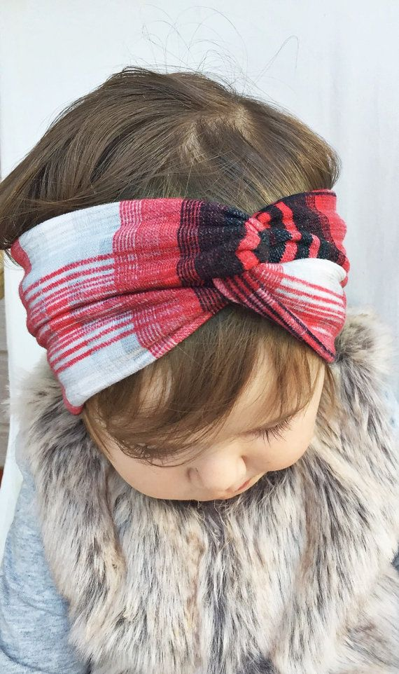 Plaid turban headband by turbansfortots on Etsy Turban Headbands d67d702fe2d