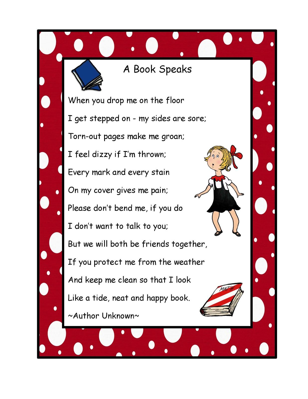Poetry Book Cover Notes ~ Preschool printables free book poem poster about care of