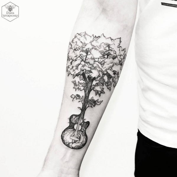 Tatouage Bras Arbre Guitare Tatoo Tattoos Nature Tattoos Et