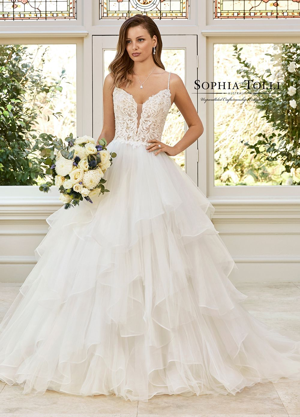 Sophia Tolli Y11952 Remi Layered Skirt Wedding Dress In 2020 Ball Gowns Wedding Ball Gown Wedding Dress Wedding Dress Prices