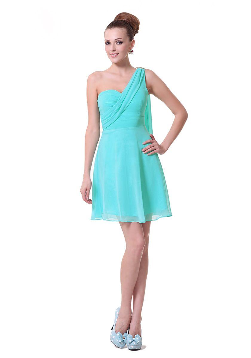 One Shoulder Short/Mini Blue Bridesmaid Dress with Ribbons | Short ...