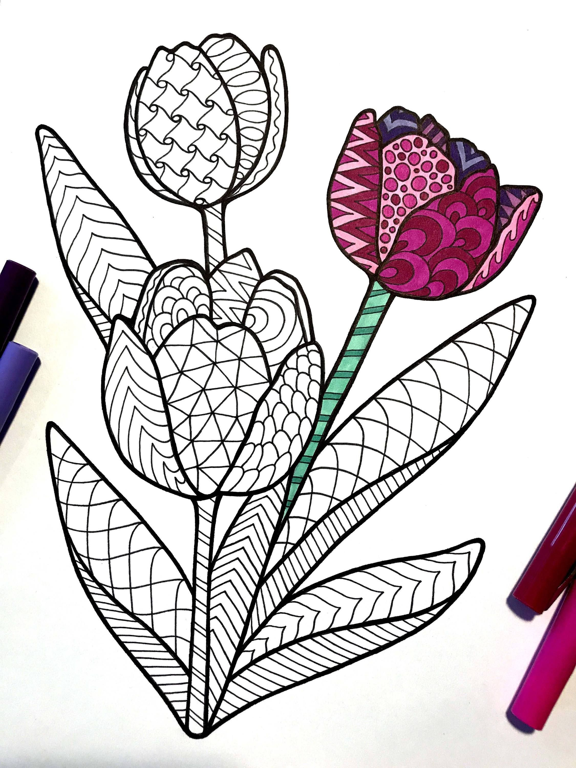 Tulips - PDF Zentangle Coloring Page | Drawings, Coloring ...