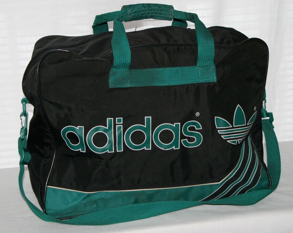 Vintage Adidas West Germany Duffle Bag Gym Tote travel 3 stripes black    green  adidas  DuffleGymBag a4e48d1630b3b