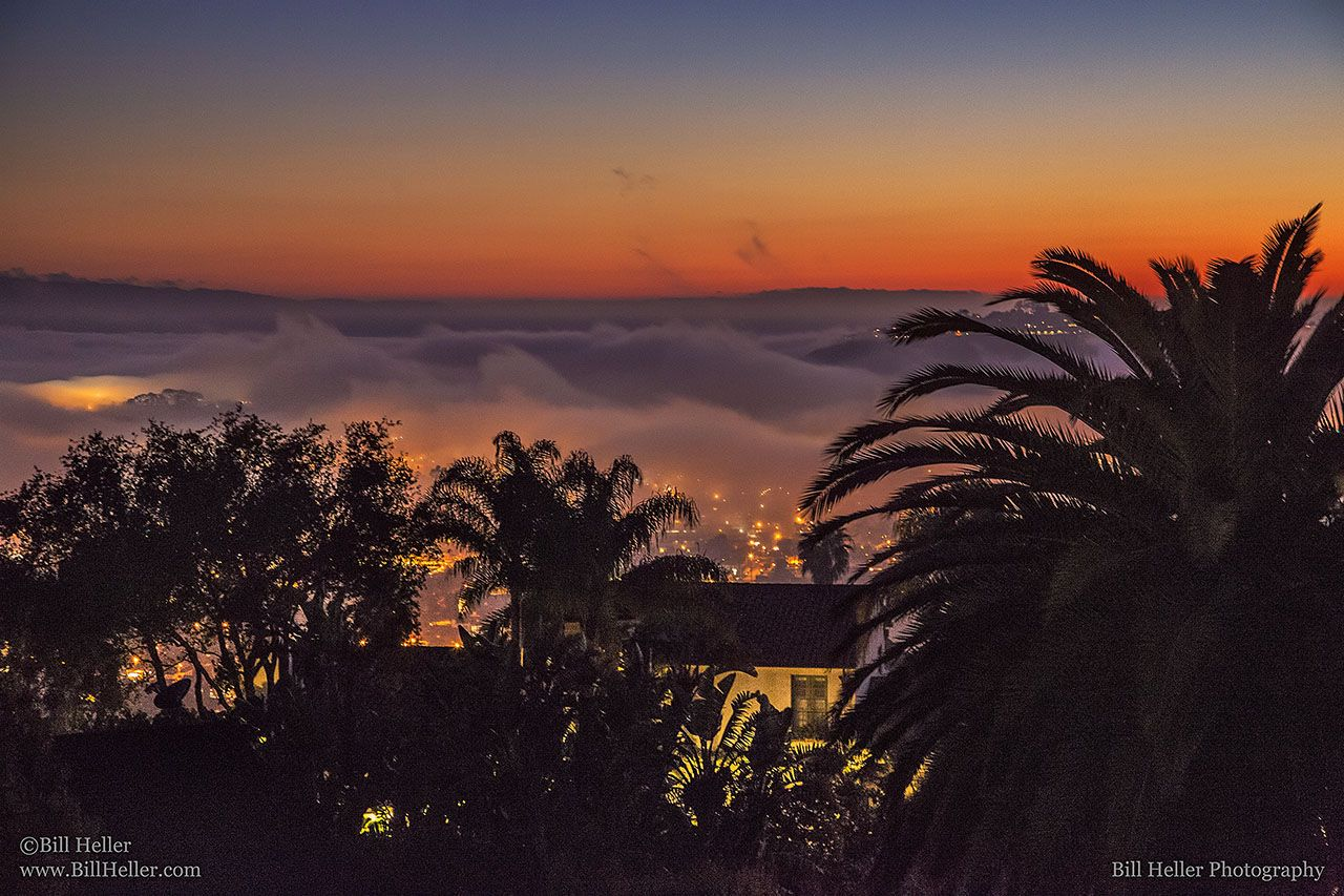 Santa Barbara Mist - Santa Barbara Photo of the Week for February 3rd, 2013 -     This evening the fog was thick at the beach. But what looks like a thick overcast evening from one point of view can take on an amazing new light from another. Climbing to the hills of Santa Barbara lets you see the graceful beauty of the mist as it slowly rolls in over the city.   http://www.BillHeller.com