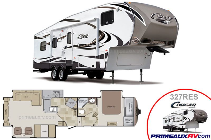 Keystone Cougar 327RES from its innovative nose lights, triple slide, open space rear living space the Cougar camper offers all the amenities of home