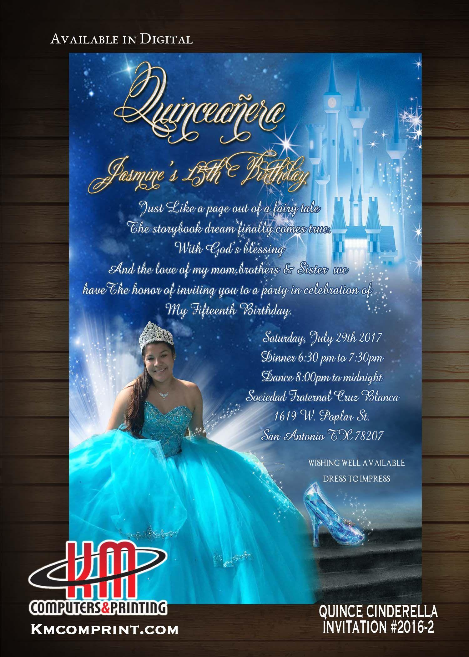 Cinderella Quince Sweet16 Invitations Printed On Vellum Transparent