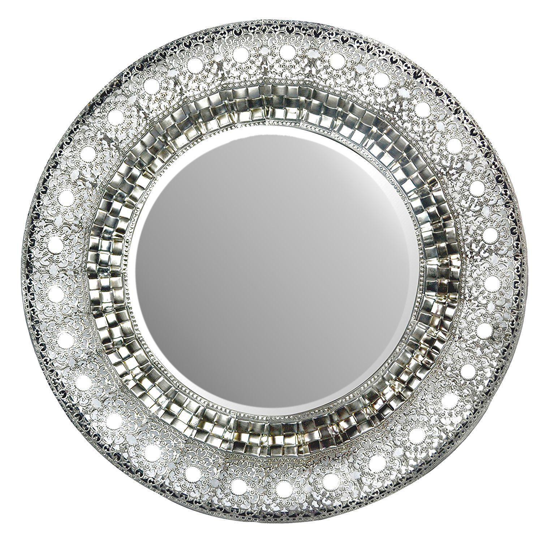 19 Oriental Round Silver Metal Beveled Wall Mirror Oriental 19 Decorative Mirror for Home /& Office Lulu Decor