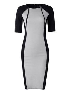 OL Contrast Color Half Sleeve Bodycon Slim Women Dress - Gchoic.com Dresses Women Fashion Latest