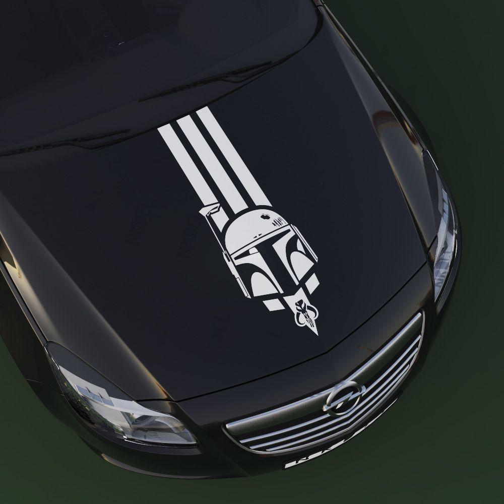 Boba Fett Cosplay Car Vehicle Hood Sticker Race Stripes Mandalorian Boba Fett Helmet Boba Fett Mandalorian [ 1000 x 1000 Pixel ]