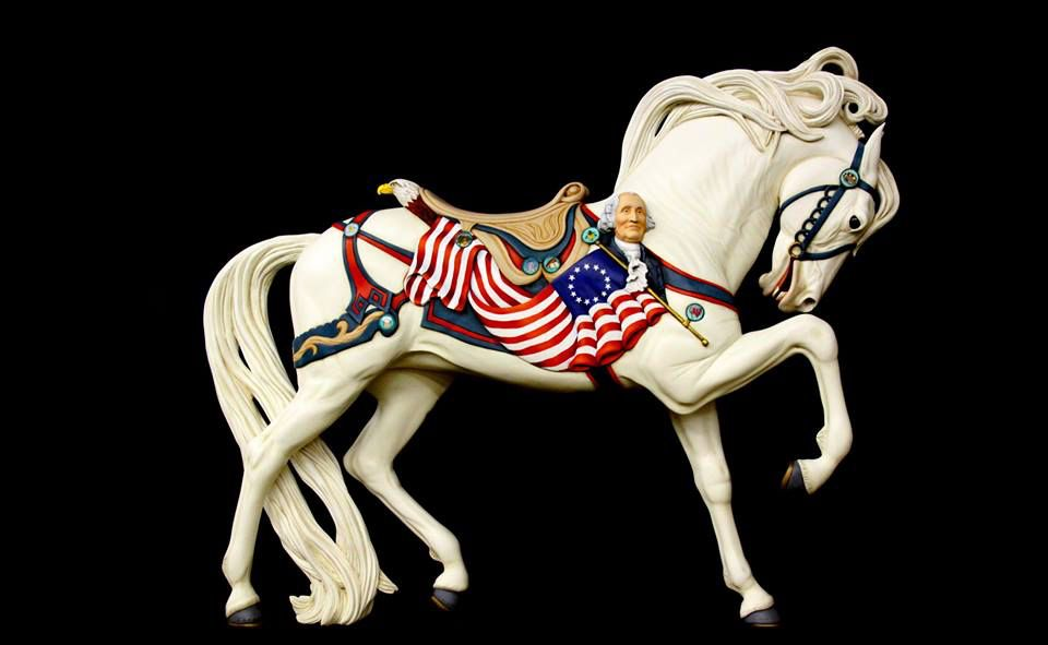 Lightning the lead horse on the Albany, OR carousel new carving