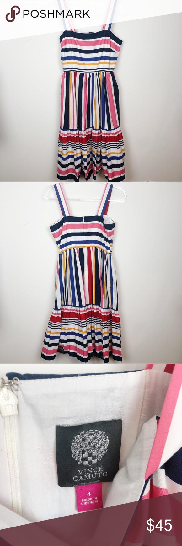 Vince Camuto Color Stripe Sleeveless Dress Sz 4 Vince Camuto Pink White Blue Yellow Multi Stripe Sleeveless Dress Striped Sleeveless Dress Color Stripes Stripe [ 1740 x 580 Pixel ]