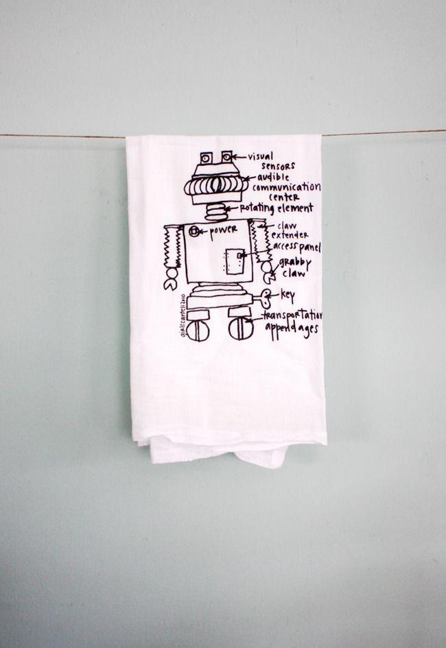 Image of tea towels for geeks - robot floursack towels, girlscantell.com