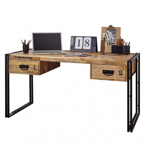 Schreibtisch Iron Mango massiv / Eisen Schreibtisch