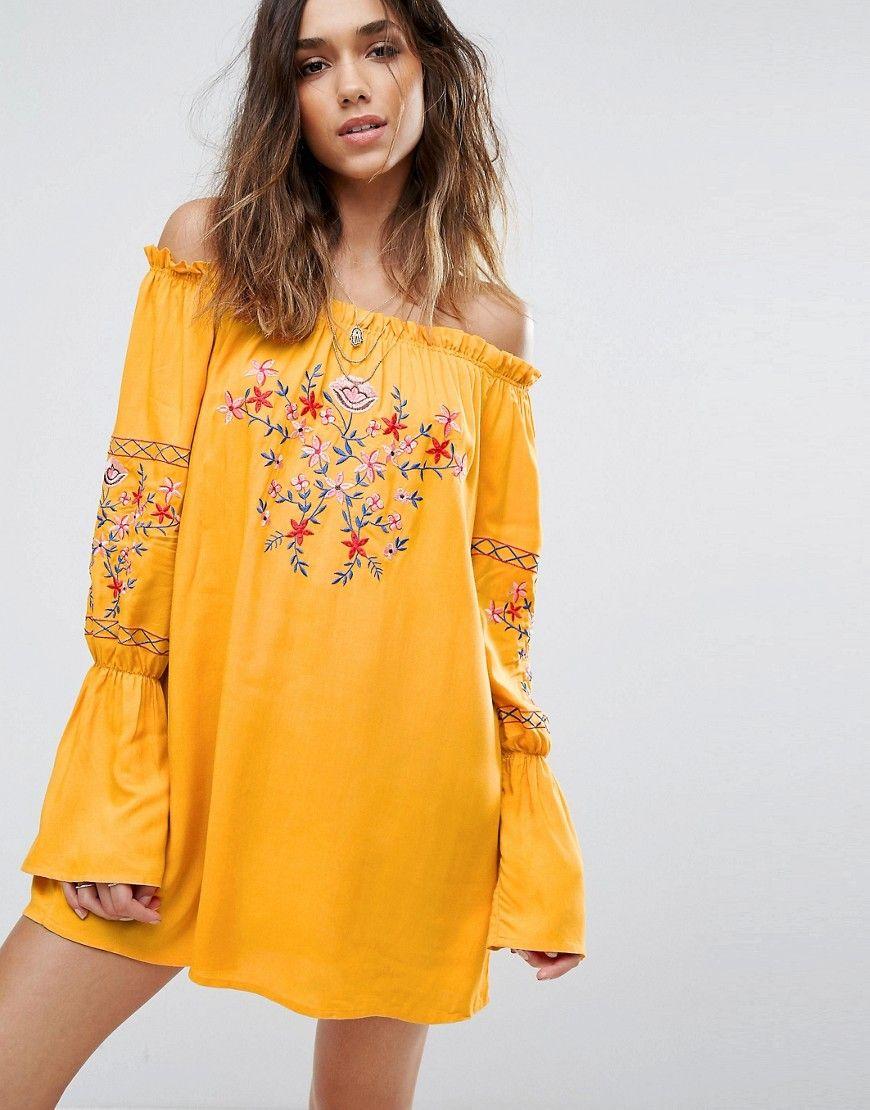 2bdd075cd2d67f Boohoo Floral Embroidered Bardot Dress - Yellow