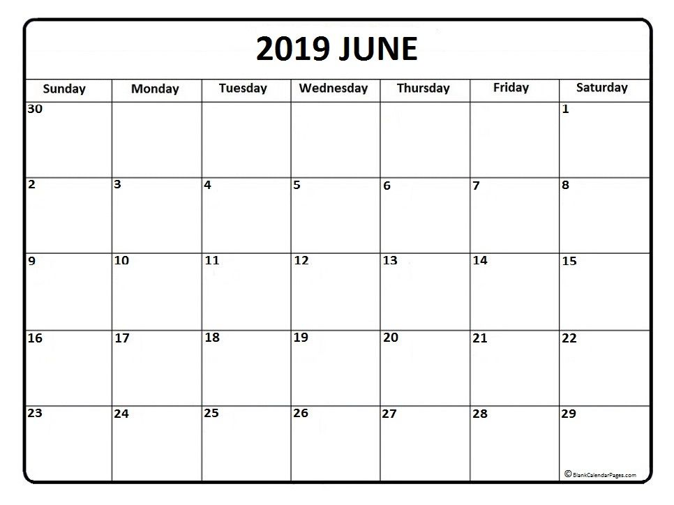 Free June 2019 Printable Calendar Word Pdf With Holidays Monthly