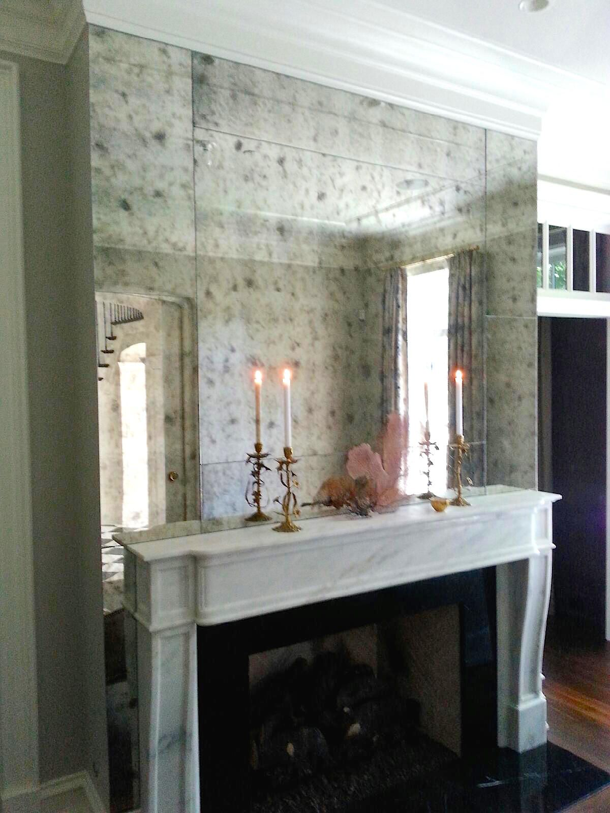 Mirrored Fireplace Wall Antiqued Mirrors Custom Mirrors