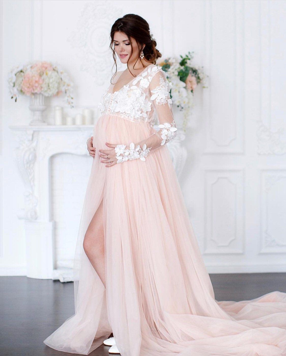 4d6bfbad42138 White Lace Maternity Dress for photo shoot Maternity Gown Pregnancy dress  Plus Size Maternity Peachy Dress Maternity Outfit
