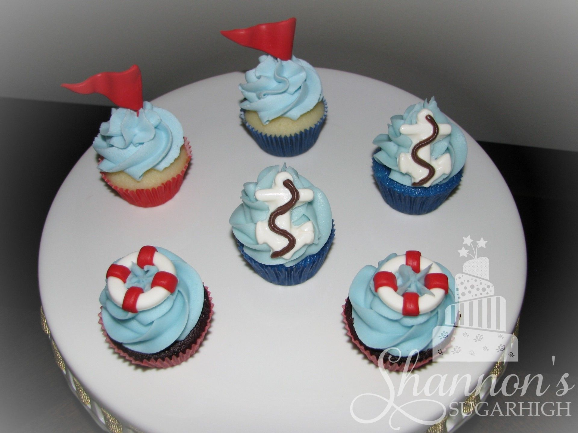 Nautical Theme Mini Cupcakes For A Baby Boy Shower With