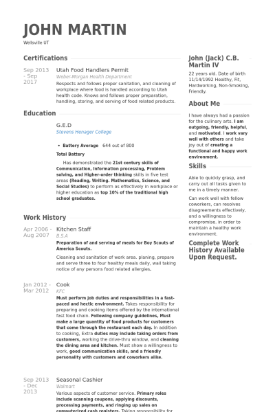 Resume Example Kitchen Staff 4 Resume Examples Pinterest