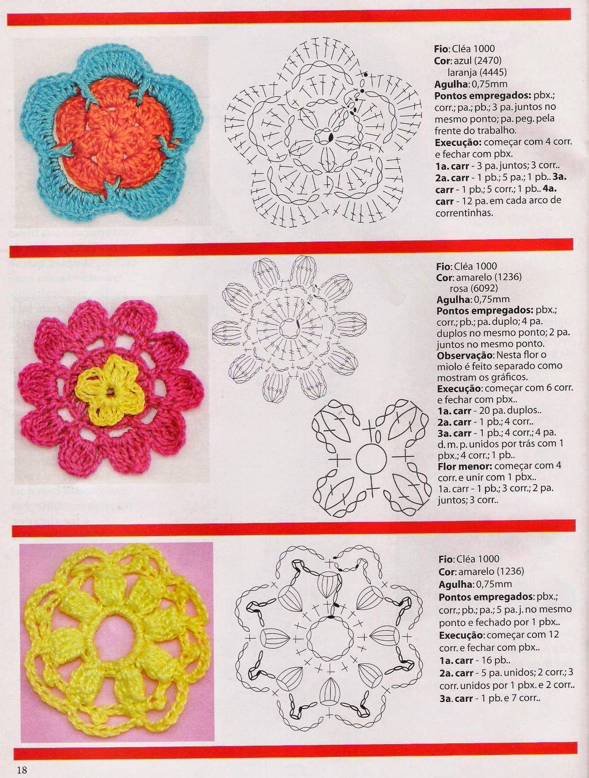 Revistas de crochet y tejidos gratis: Flores en crochet paso a paso ...