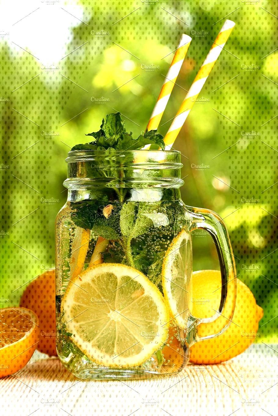 Fresh lemon and mint drink by Roberts amp Irina Resnais on @creativemarket Fresh lemon and mint drink