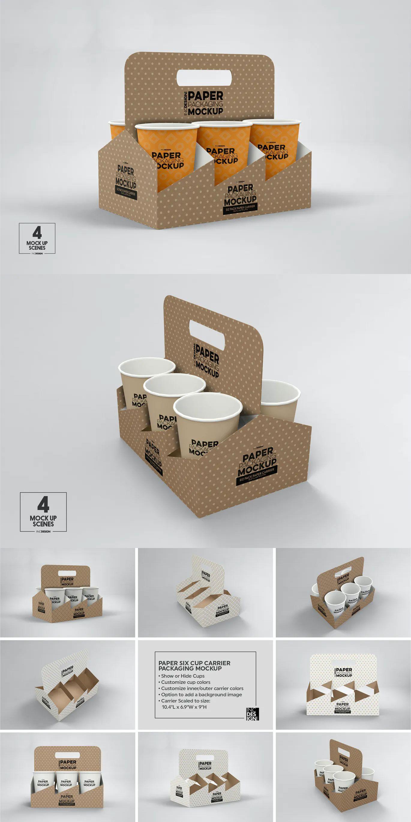 Download Paper Six Cup Carrier Holder Packaging Mockup Packaging Mockup Cafe Shop Design Cup