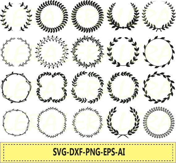 Laurel Wreath Svg Wreath Png Eps Svg Dxf Laurel Wreath Circle Monogram Frame Files Svg Laurel Wreaths Clipart Digital Download In 2020