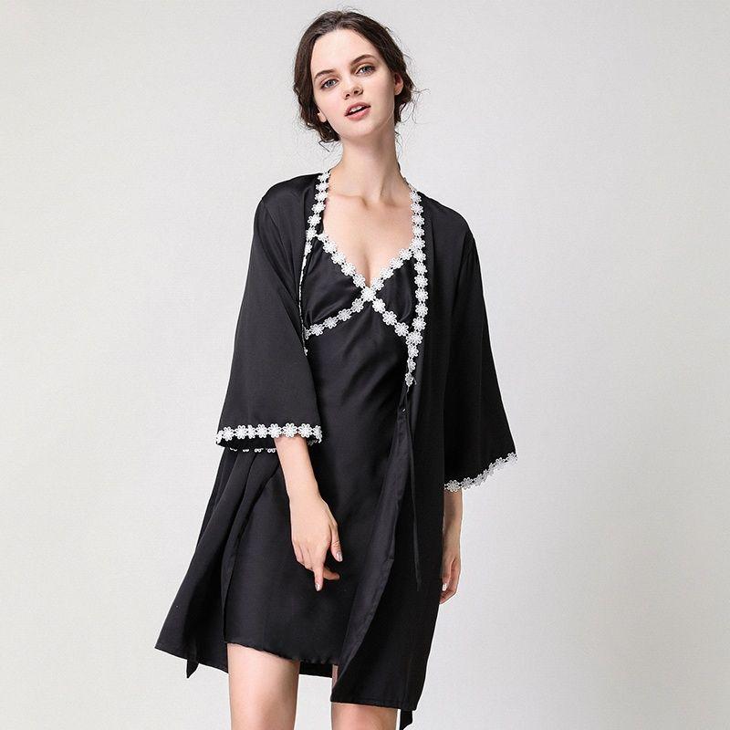 c8fdf8c8dab0 Ladies Sexy Silk Satin Robe Gown Set Women s Sleep Lounge Lace Bathrobe Set  Summer Sleepwear Nightwear Set 2 Pieces