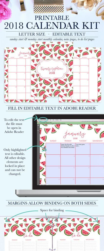 Stay Organized With This Beautiful  Printable Calendar Kit
