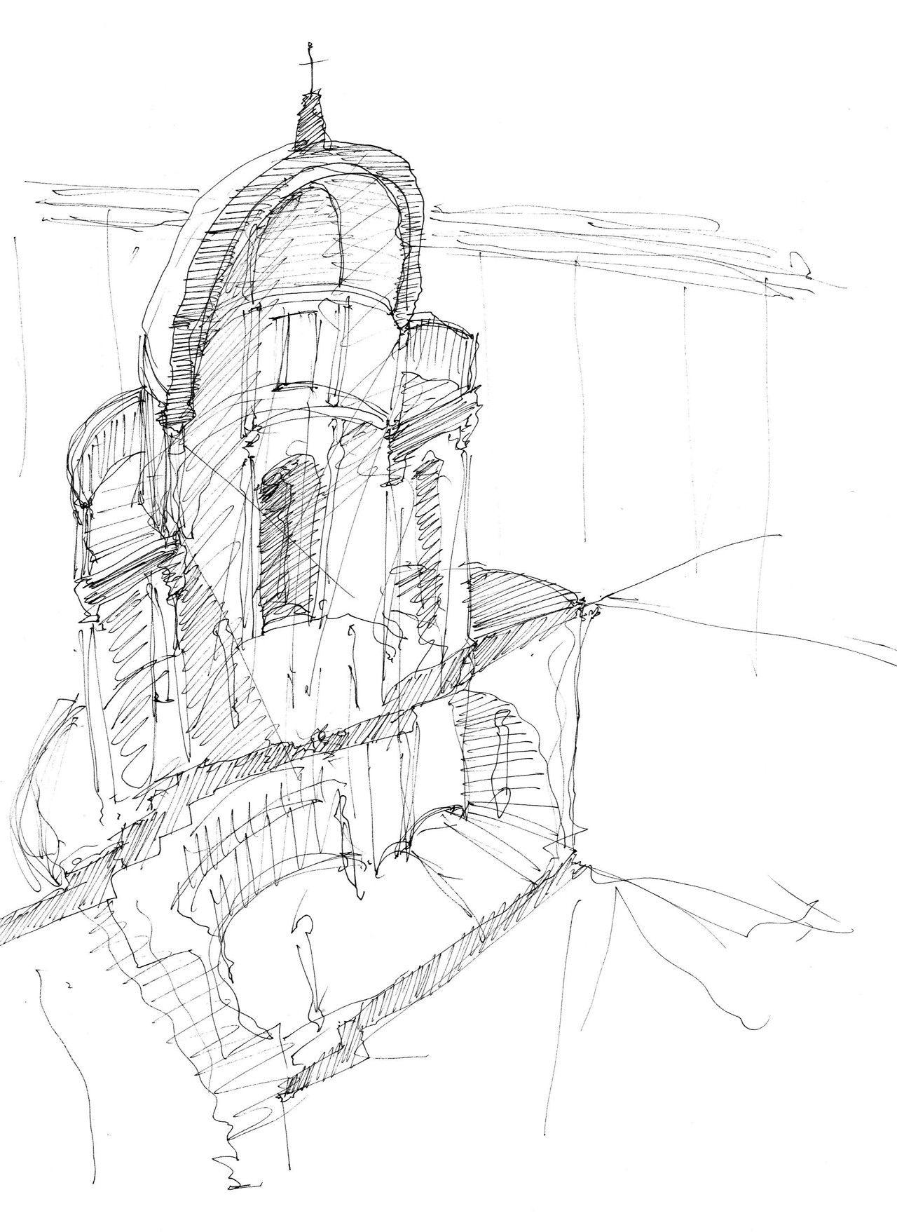tonsarchitecture  Tempietto, Rome  Sketch Section  Pen   Все дороги ... b39ac4efe4b