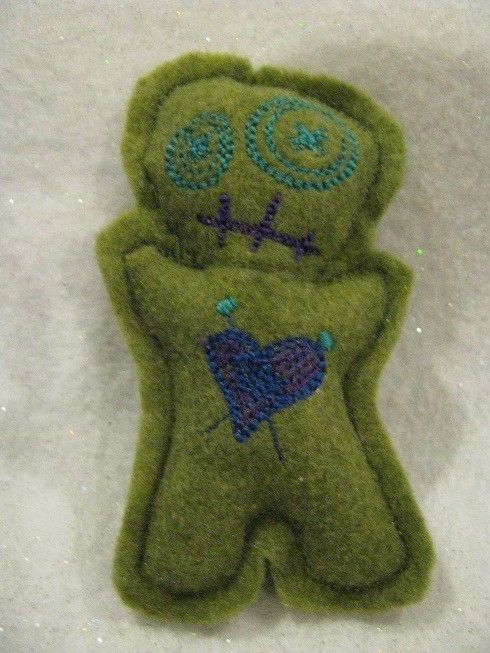 Voodoo Doll Pin Cushion or Pocket Pal - Green Felt with Blue and Purple Thread Accents