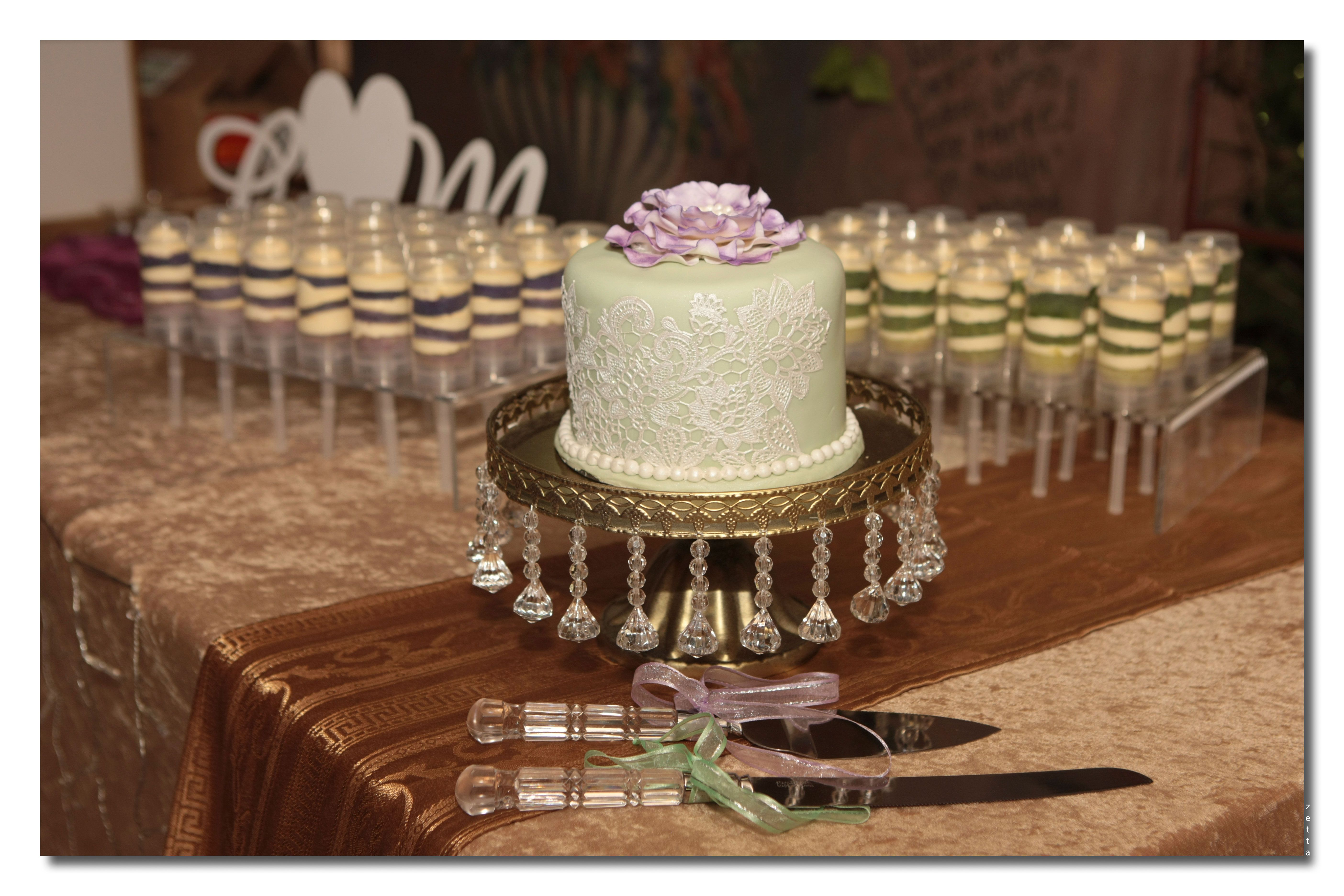 Purple/Gold/Mint Green Wedding Cake and for the guests Push Pop Cakes :)