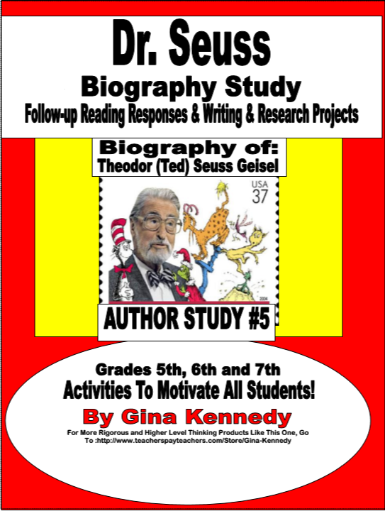 Dr Seus Biography With Excellent Reading Response Essay Question And Writing Research Project Thi Author Studie Activities