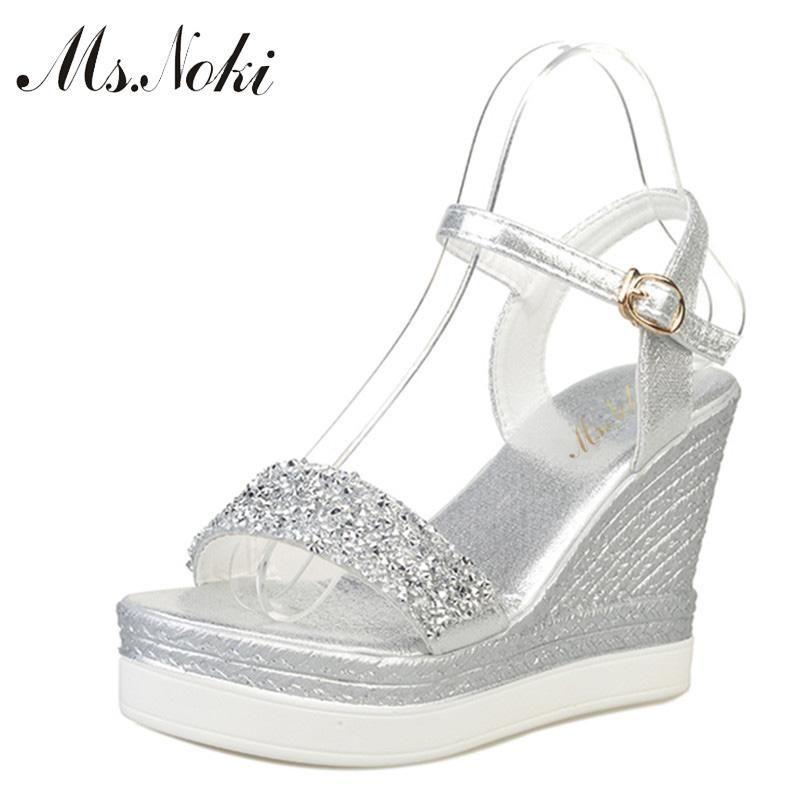 a195ac343f8 Ms.Noki high heels sandals women shinning glitter silver gold platform  wedges 2018 summer ladies