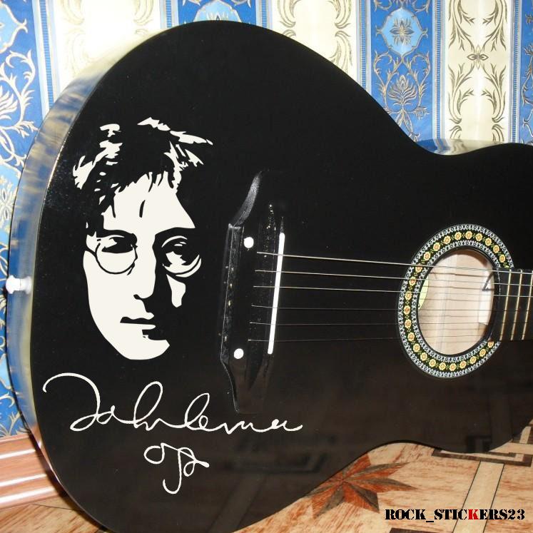 John Lennon Stickers Vinyl Portrait Signature Autographs The Etsy Beatles Guitar John Lennon Lennon