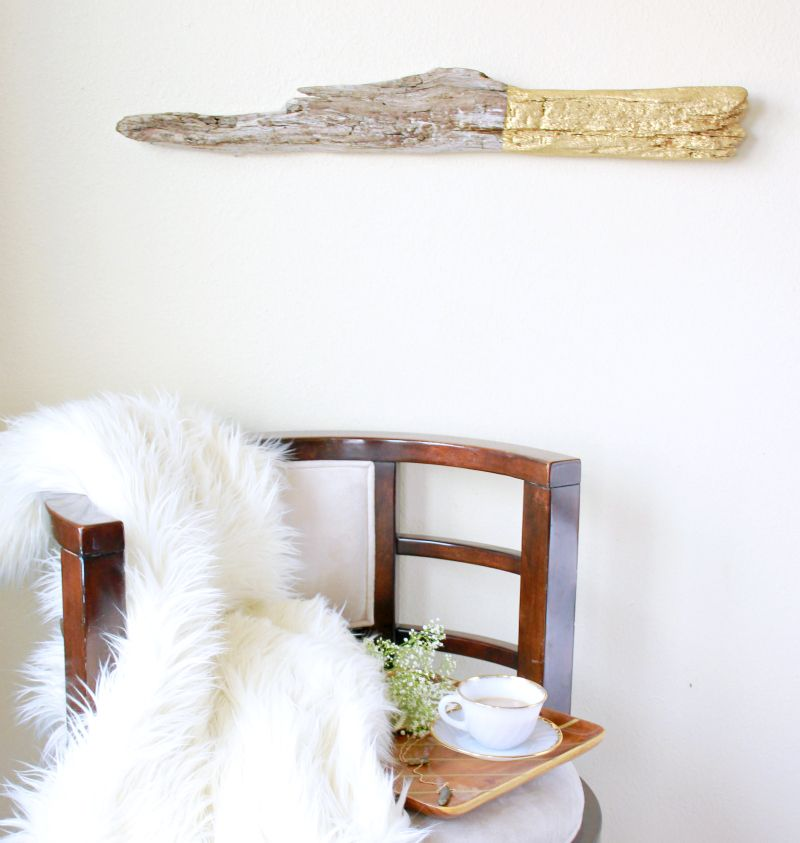 DIY Anthropologie Hack Gilded Driftwood Wall Art You Can Make This Piece In
