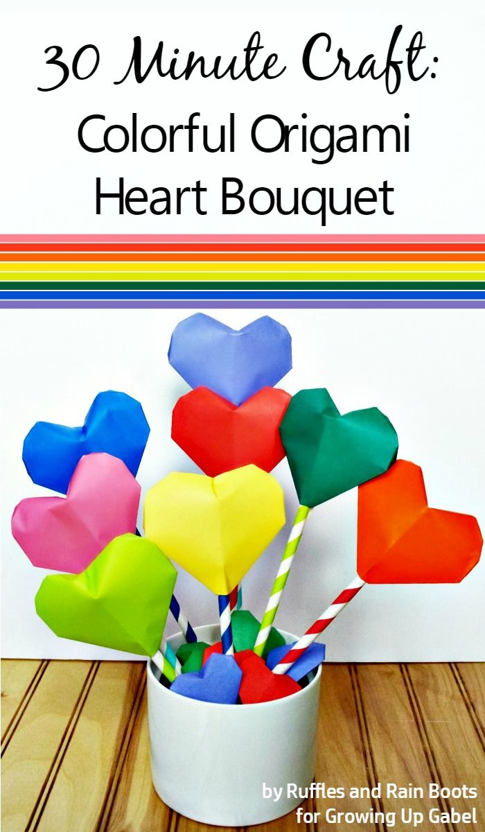 27 candy free handmade valentine ideas kids will love origami looking for an easy valentines day craft try this origami heart bouquet turn colorful paper in to a fun decoration perfect for kids jeuxipadfo Gallery