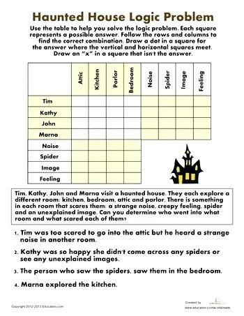 6th Grade Halloween Printable Fourth Puzzles Worksheets Haunted House Logic Problem Sixth Math Logic Puzzles Maths Puzzles Halloween Worksheets