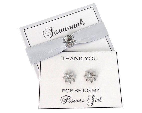 Flower Girl Earrings  White Flower Girl Gift  by NADEGEgifts