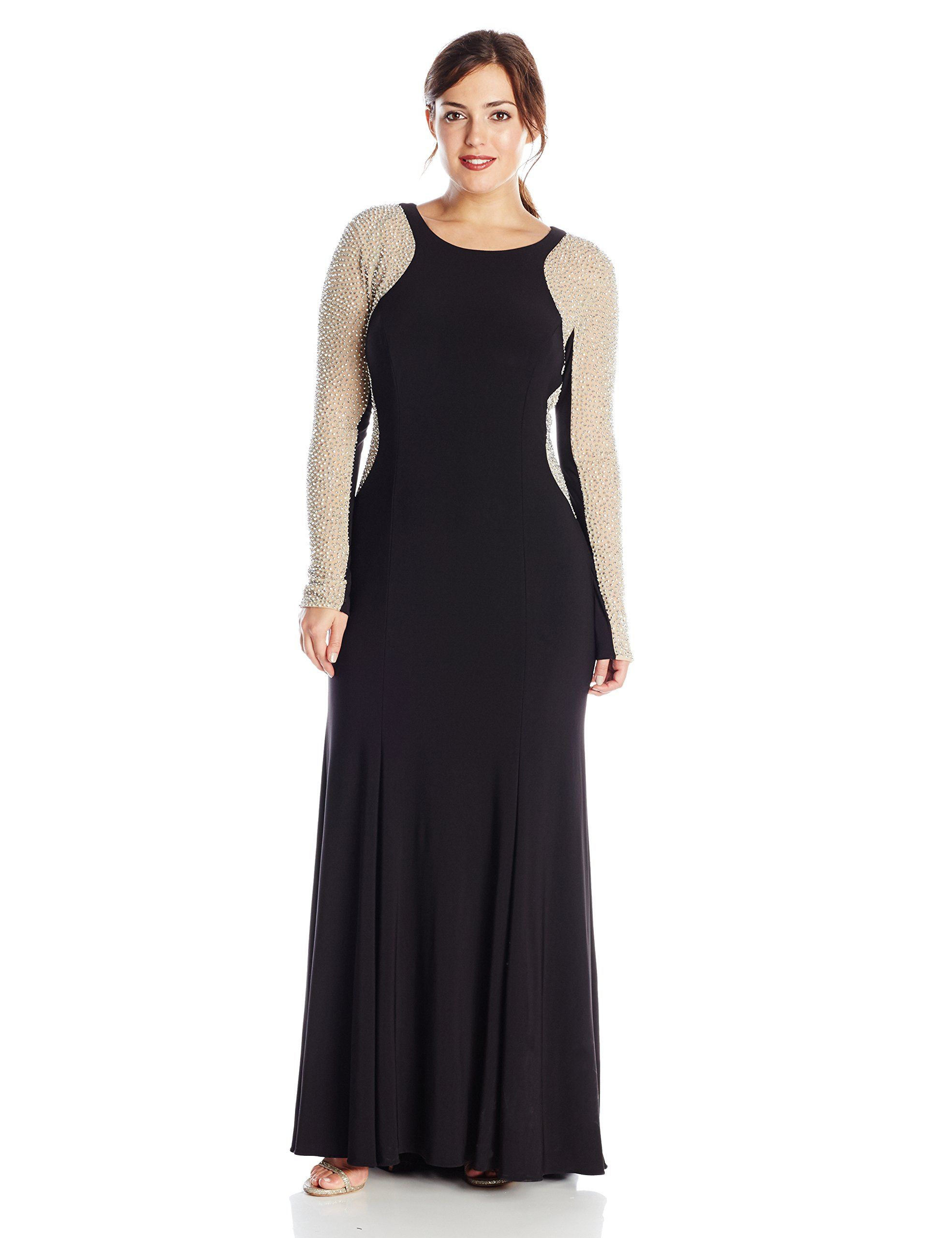 e72be9a4ce558 Xscape Womens PlusSize BeadedSleeve Long Gown Black Nude Silver 16W --  Continue to the product at the image link-affiliate link.   womensformaldresses