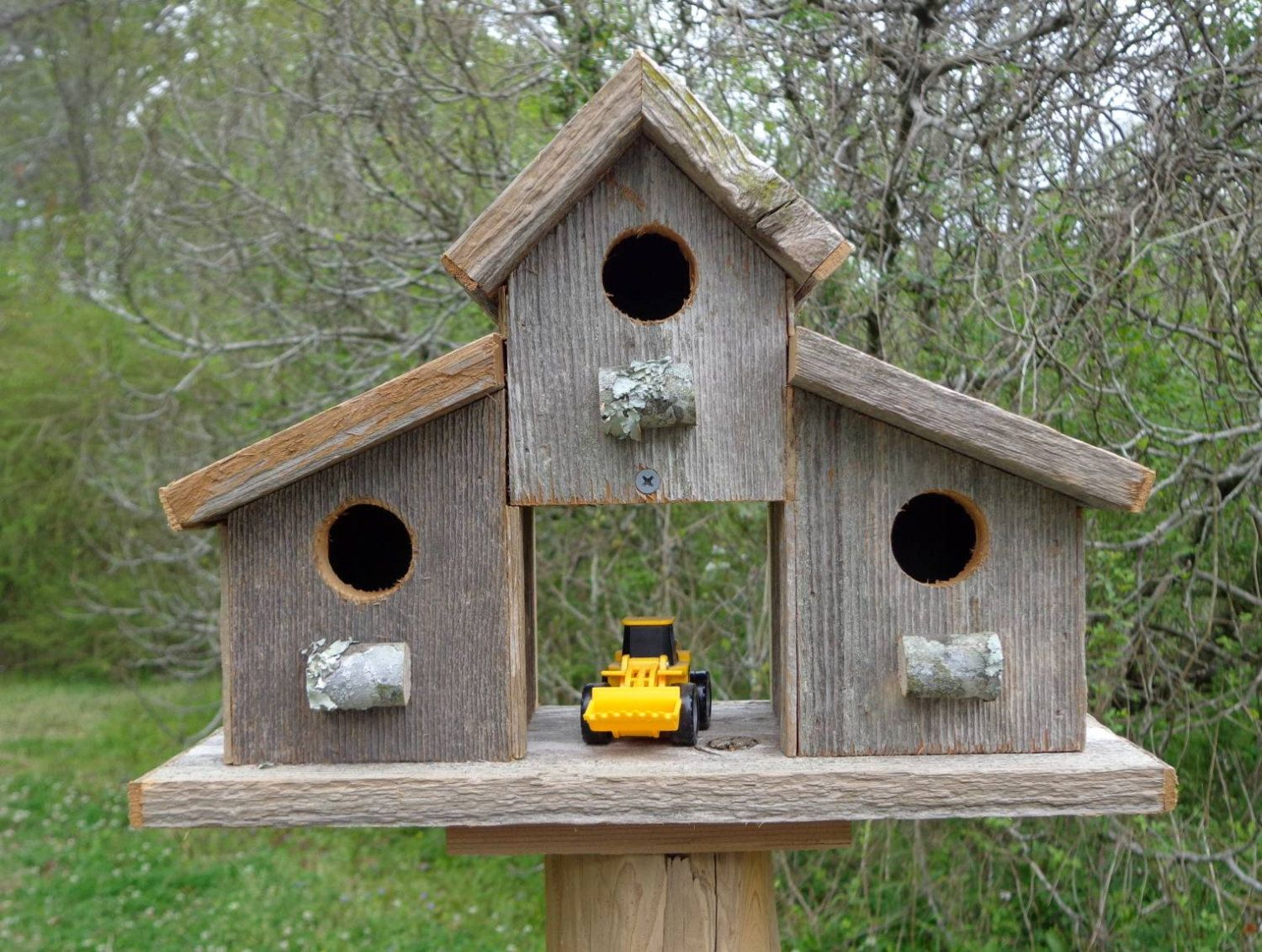 Rustic Reclaimed Cedar Birdhouse Barn | Bird house plans ...