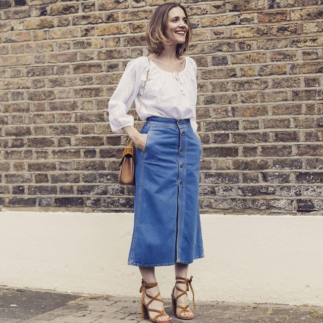 Andrea-Fenise-Denim-Skirt-Trend | Long denim skirts | Pinterest | Blog