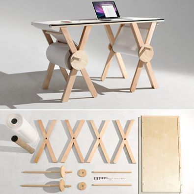 Diseñador o artista, esta es tu mesa!  Desk designed by Kirsten Camara with 1,100 yards of paper to record all the small items you write down once, but intend to forget tomorrow. What do you usually forget? »> http://www.kcamara.com/