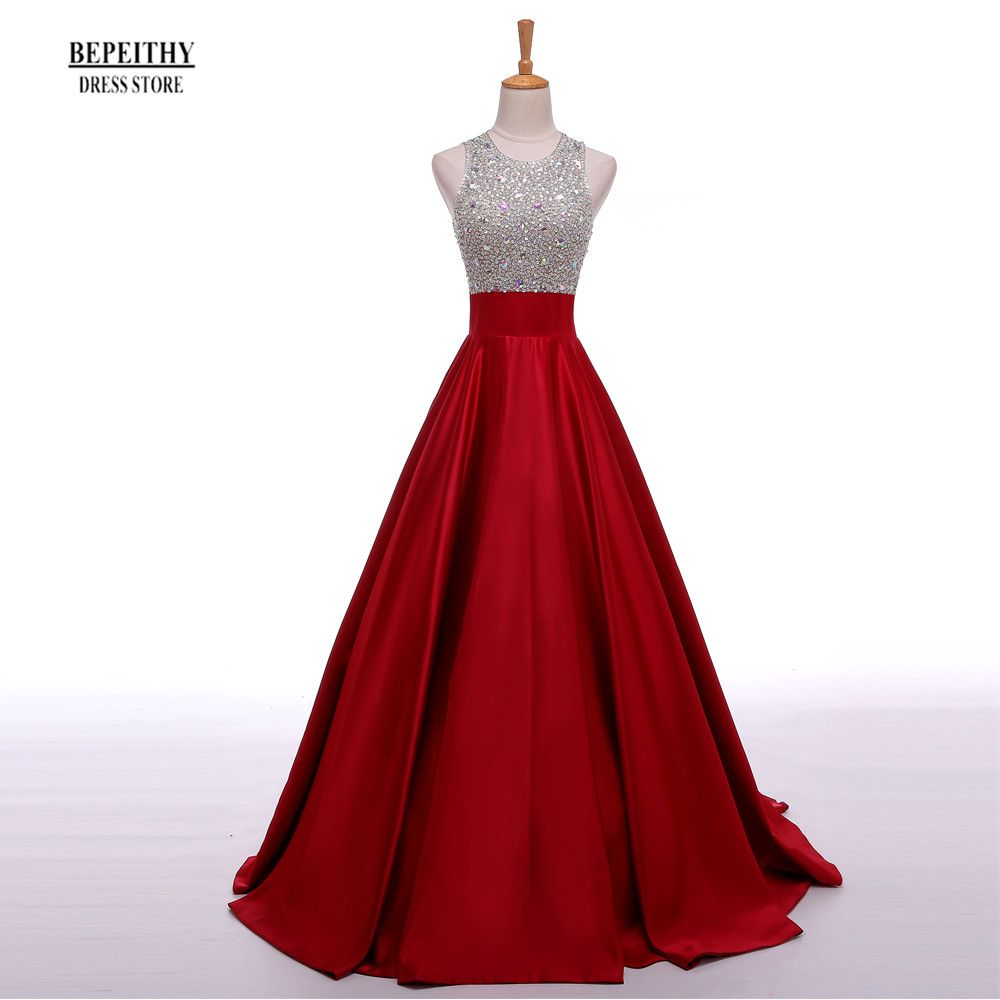 Real image a line long evening dress beadings crystal bodice open